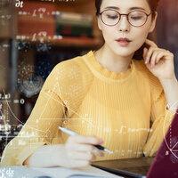 woman working on mathematics