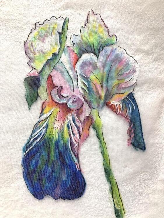 Luminous Painted Irises...a paint transfer technique.