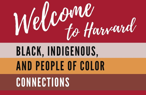 """Crimson poster with white hand writing """"Welcome to Harvard"""""""