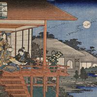 Utagawa Hiroshige I  (Japanese, 1797-1858), Ushiwakamaru Reads Kiichi Hogen's Secret Scrolls, no. 7 from the series A Pictorial Biography of Yoshitsune, ca. 1834–35, color woodblock print. Mary A. Ainsworth Bequest, 1950.1066