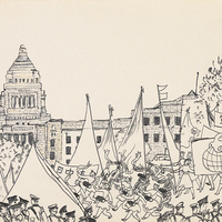 """Maruki Toshi (Japanese, 1912–2000), """"May Day Demonstration in Central Tokyo"""", 1960, pencil and color on paper. Gift of Carl Read Gerber (OC 1958) in memory of Alan Savage Carroll (OC 1958), 2020.15"""