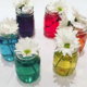 6 mason jars with water of various rainbow colors, each with a daisy flower.