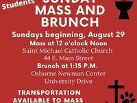Catholic Campus Ministry Sunday Mass and Brunch