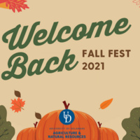 """Fall foliage and pumpkins with the text """"Welcome Back Fall Fest 2021."""""""