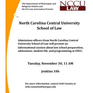 Law School Information Session North Carolina Central University
