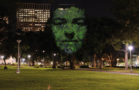 Craig Walsh's art involves faces of heroes projected onto trees