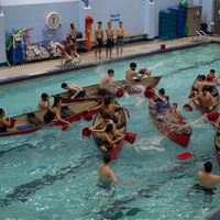 students participating in the Battleship Event in the Tootell Pool