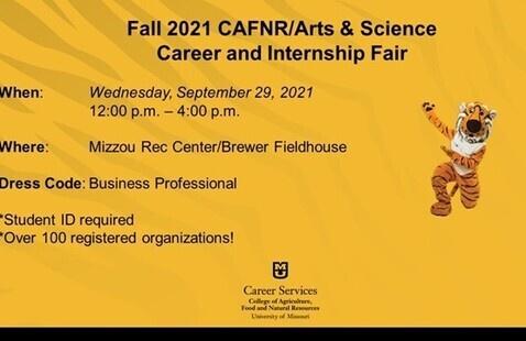 "Fall 2021 CAFNR/Arts & Science ""In Person"" Career Fair"