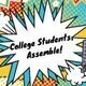 College Students Assemble! The text on this  image is inside a graphic that has pop art on it in a variety of colors.