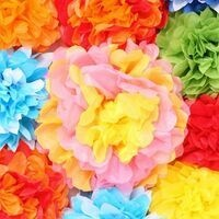 Paper flowers in a variety of colors.