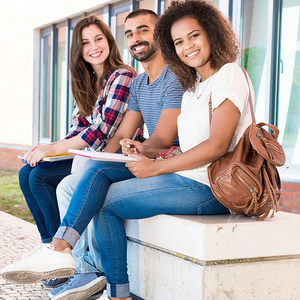 Students sitting on a bench