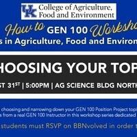 How To Gen 100 Workshop Series: CHOOSING YOUR TOPIC