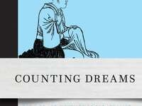 Book cover of Counting Dreams blue background, black ink drawing of a Buddhist nun, white center stripe with black and blue text