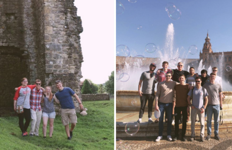 students studying abroad together