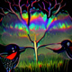 artists depiction of two birds beak to beak