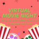 """Image description:  Graphic has a pale red background with lime green text in the middle and black sparkles against the background color.  At the bottom of the graphic is two images of popcorn cartons and two film reels. One reel has red accents and purple film and the other has lime green accents and dark green film.  The text in the middle says: """"Virtual movie night taking place on the LGBTESS Discord Server! Fri, September 3rd, 7 - 9 pm"""".  End description."""