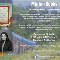 Flyer describing the event information for the upcoming Mining Books event to discuss the novel A Passage North