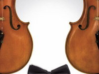 Graphic of two violins with a black bowtie in the bottom center of the image