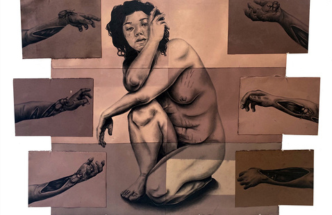 Sandra Vega, Untitled, 2021, charcoal on hand-dyed paper, 44 x 56 ½ inches
