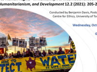 """A Workshop on Benjamin Davis' recently published article, """"The Promises of Standing Rock: Three Approaches to Human Rights"""" in Humanity: An International Journal of Human Rights, Humanitarianism, and Development 12.2 (2021): 205-225."""