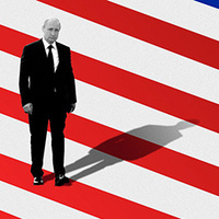 Graphic of Putin standing on a large US flag and casting a Shadow