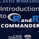 The photo has the words Introduction to R and R Commander with the R logo.