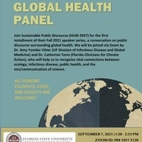 Flyer for Sustainable Public Discourse Speaker Series: Global Health Panel via Zoom