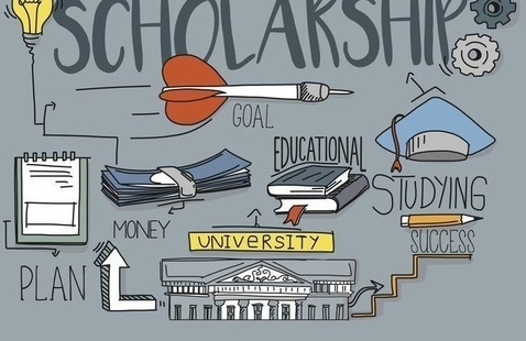 Graphic of an university receiving a scholarship for student success