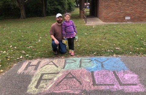 """Happy Fall"" in chalk"