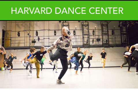 """Kelly green banner with """"HARVARD DANCE CENTER"""" in white font. Beneath is hip hop class in Studio 1 filled with students in mid-motion, one leg bent up, hand holding foot, other hand on head."""