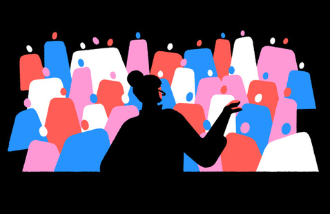 Woman giving speech to crowd