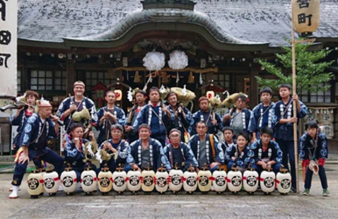 Chris Thompson and his troupe mates on Oct. 13, 2018, on the afternoon before the start of the Asuke Fall Matsuri after being blessed by the head priest of Asuke Hachimangū Shrine.