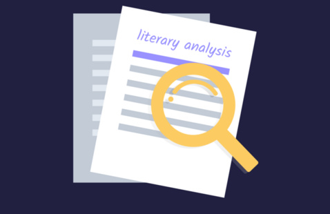 """A magnify glass on top of a paper labeled """"literary analysis""""."""