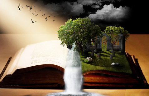 A forest emerging out of a book.