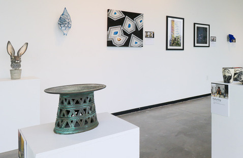 Gallery installation of work in the exhibition, Pivot: Celebrating the instructors of Ceramics Program online classes, 2020-21