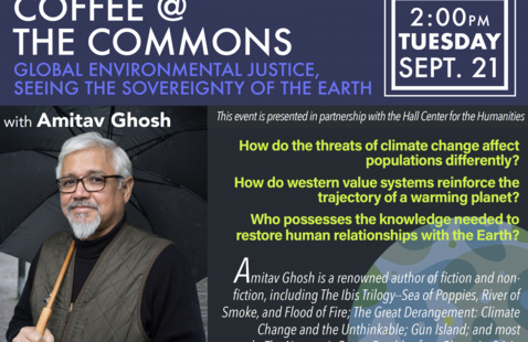 Author Amitav Ghosh, smiling, in black shirt with brown vest, with event details.