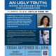"""Poster promoting author Cecilia Kang's campus talk on her book """"An Ugly Truth"""""""