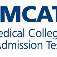 Logo for MCAT Medial College Admission Text. Navy text with white background.