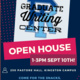 GWC logo and Open House information (1-3pm Sept 10th, 250 Pastore Hall, Kingston Campus) using a navy blue background and pink and orange accents.