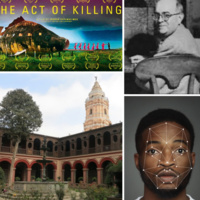 """Collage of images selected by the presenters which include: the movie poster for """"The Act of Killing,"""" a photo of Theodor W. Adorno, a photo of a building in  an Ibero-American city, and a photo of a Black man with facial recognition details over his face."""