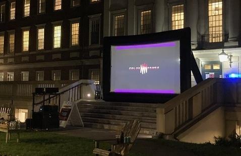Outdoor movie screen in Gore Courtyard