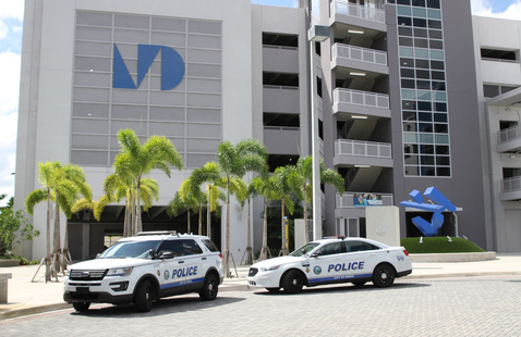 Doral Police Cars parked in front of the West Campus Garage