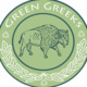 Green Greek pin with a buffalo