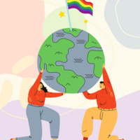 2 individuals wearing jeans and sweaters hold up a globe with a pride flag proudly waving on top of the globe.