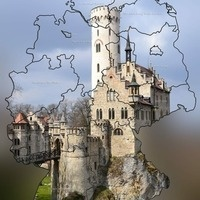 A map of Germany overlaid on a picture of a German castle.
