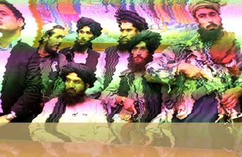 A distorted image of the Taliban sitting in the President's office in Afghanistan after the recent takeover.