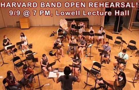a picture of the harvard band rehearsing