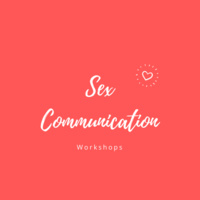 Pink with white writing sex communication workshops with a picture of a heart