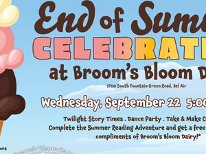 Harford County Public Library celebrates the conclusion of the Tails and Tales Summer Reading Adventure 2021 Wednesday, September 22, from 5 to 7:30 p.m. at Broom's Bloom Dairy.