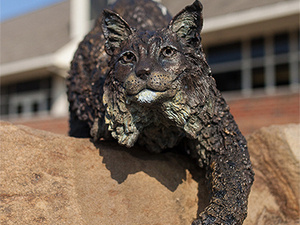 Bobcat statue on the Pitt-Greensburg Campus
